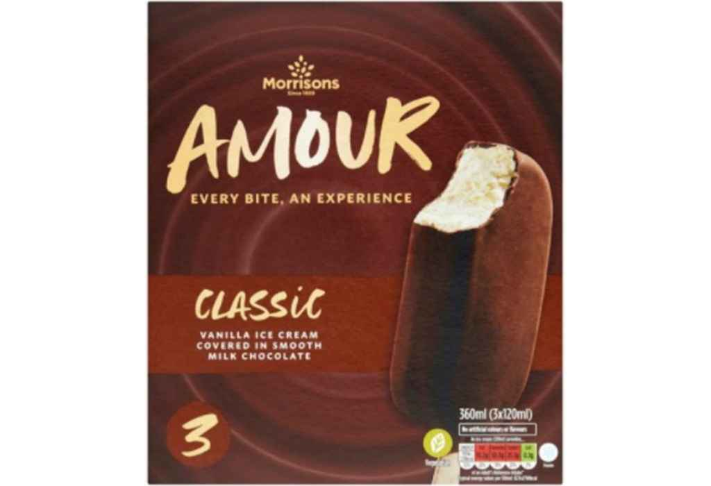 Morrisons recalls Morrisons Amour Classic Vanilla Ice Cream due to pieces of plastic