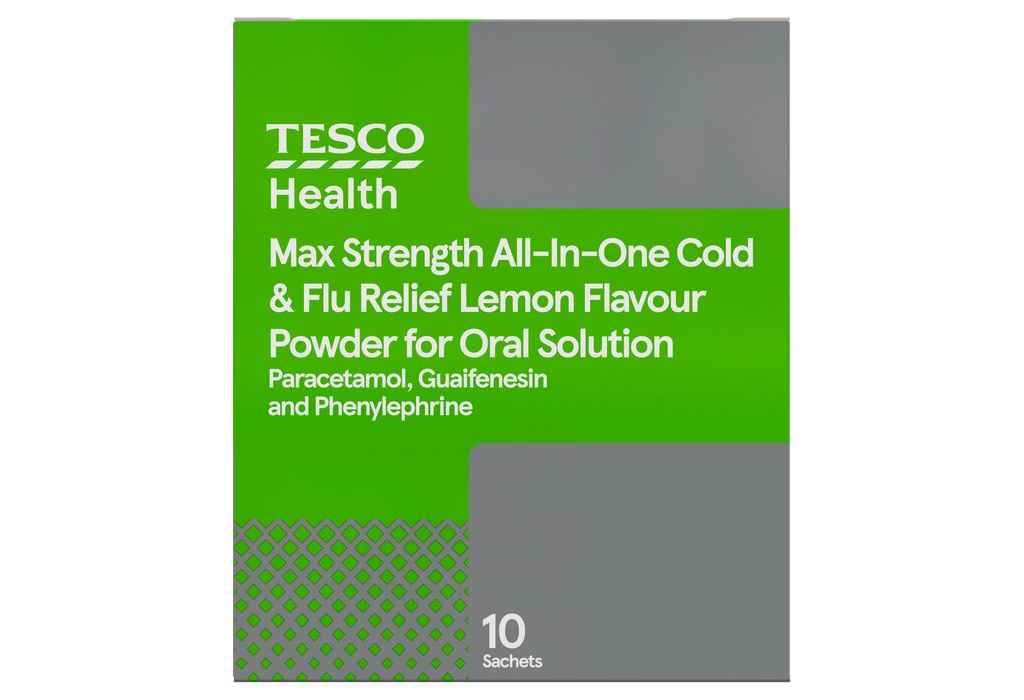 Tesco Health Max Strength All-In-One Cold & Flu Relief Lemon Flavour is recalled due to wrong dosage advice