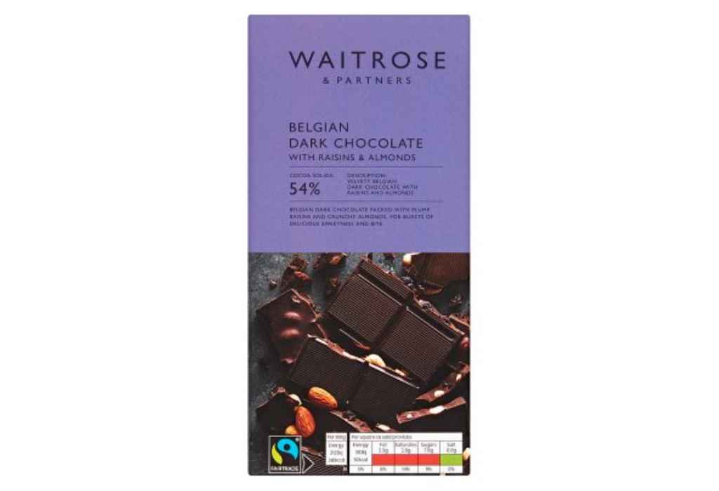 Product recall: Waitrose Belgian Dark Chocolate with Raisins and Almonds is recalled due to undeclared hazelnuts